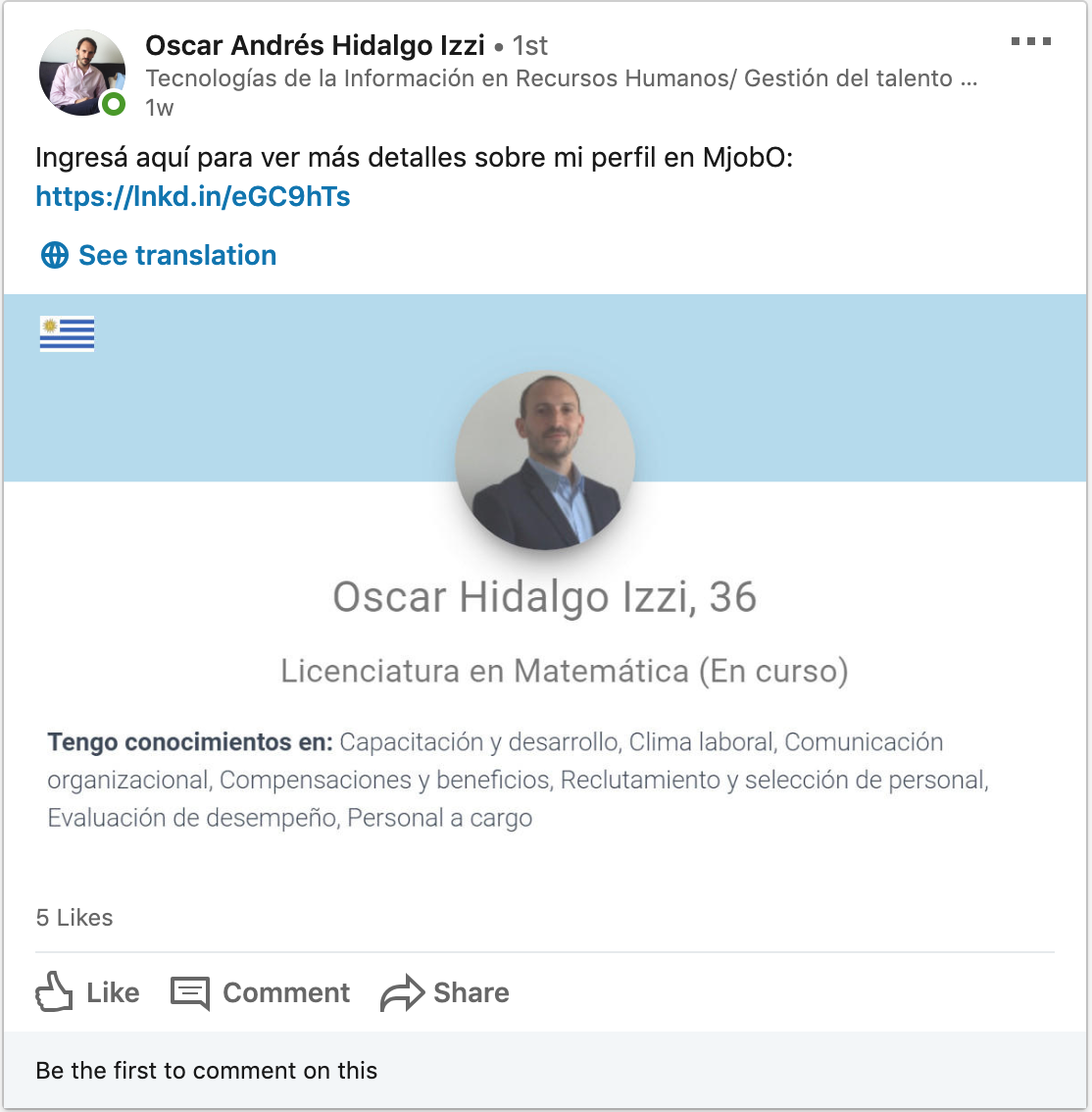 A user sharing its MjobO profile in Linkedin