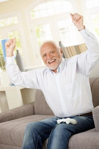 Harold happy celebrate