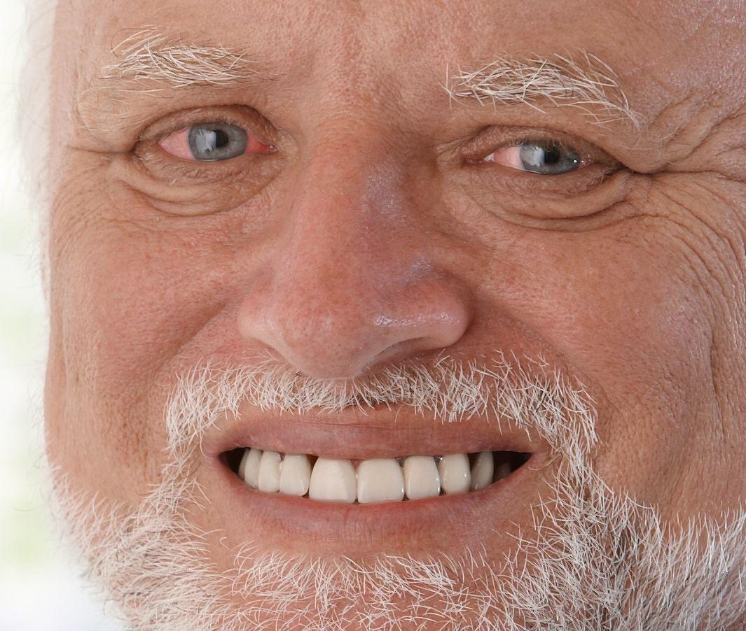 Harold awkward face meme