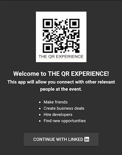 QR experience Screenshot LinkedIin Log In